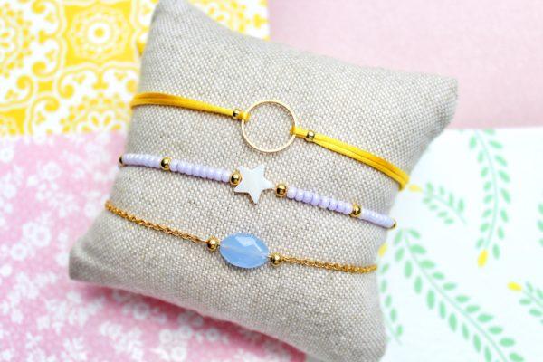 Setje van drie armbandjes paars & geel