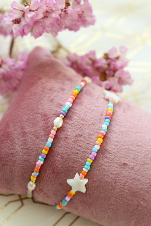 Multicolour armbandje ster en parel