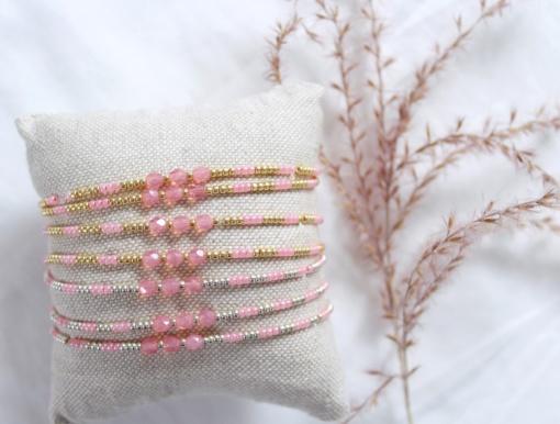 Roze kralen armbandje met facet