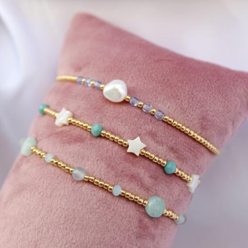 Setje van drie armbandjes blauw/groen
